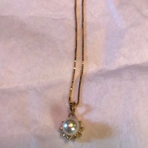 14k yellow gold necklace with pearl diamond charm